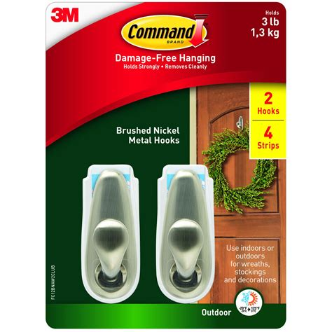Command Medium 2-Pack Outdoor Metal Hooks with 4-Pack