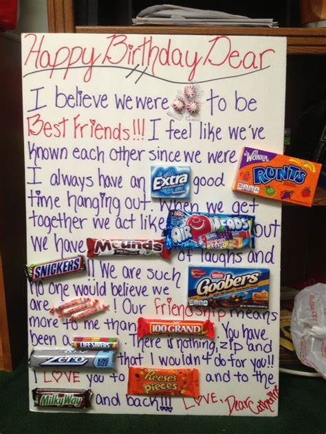 Birthday gifts for best friend, Candy birthday cards, Cute