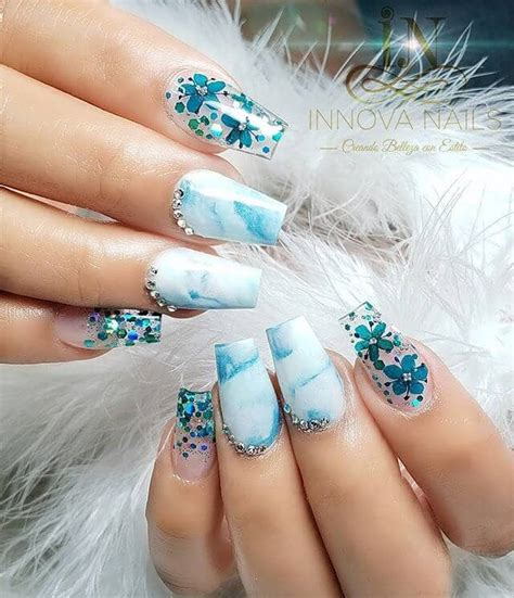 Baby Blue Marble Acrylic Nails - lovely nails design