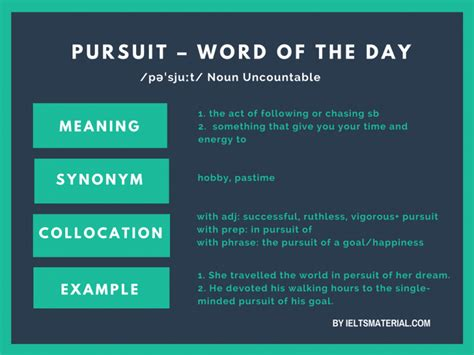 PURSUIT – Word Of The Day For IELTS Writing & Speaking