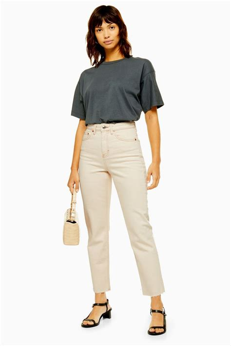 Ecru Straight Jeans | Topshop | Cream jeans outfit