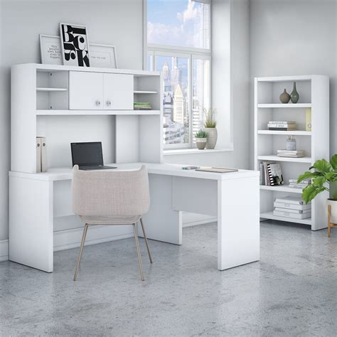 Kathy Ireland Office - Echo L Shaped Desk with Hutch and 5